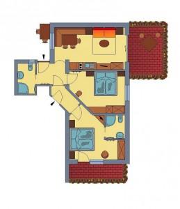 Plan der Ferienwohnung (große Variante)